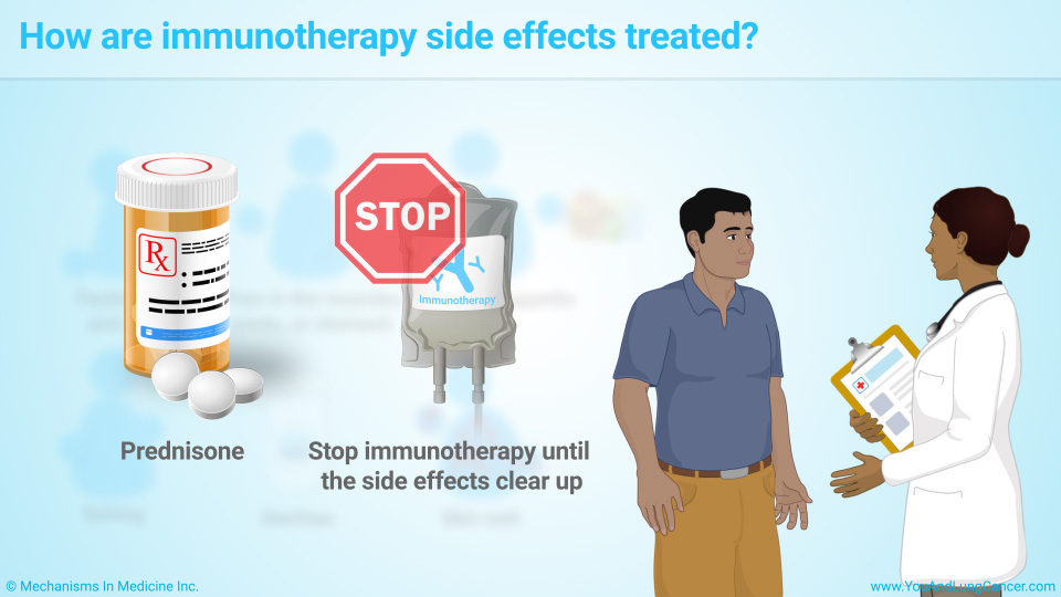 How are immunotherapy side effects treated?